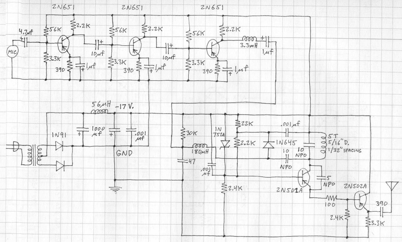 Tsd Fm Transmitter Circuit Diagram Audio Amplifier Schematic Circuits A General Purpose 3 Transistor Assembled In Small Tin Box On The Right Is Gain Control And Power Switch At Bottom Are Input